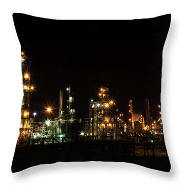 Refinery At Night 2 Throw Pillow