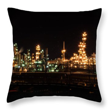 Refinery At Night 3 Throw Pillow