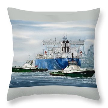 Refinery Tanker Escort Throw Pillow by James Williamson