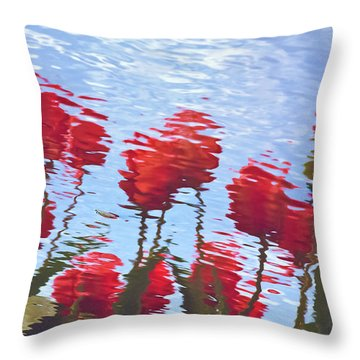 Reflected Tulips Throw Pillow