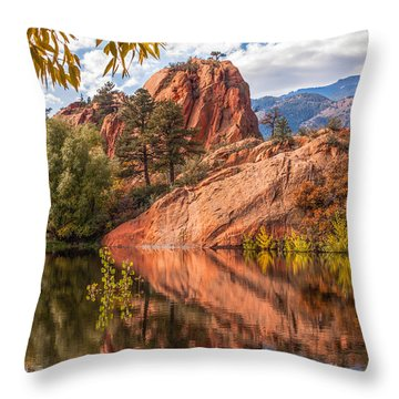 Reflecting At Red Rocks Open Space Throw Pillow