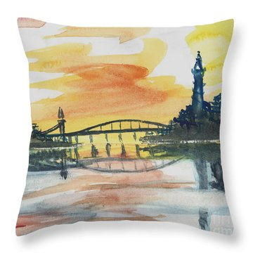 Reflecting Bridge Throw Pillow