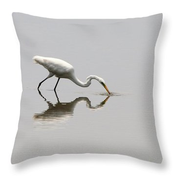 Reflecting Egret Throw Pillow by Al Powell Photography USA