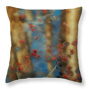 Reflecting Gold Tones Throw Pillow by Elizabeth Dow