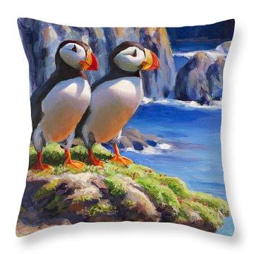 Horned Puffin Painting - Coastal Decor - Alaska Wall Art - Ocean Birds - Shorebirds Throw Pillow