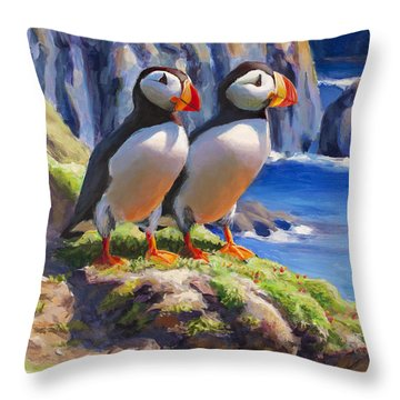 Horned Puffin Painting - Coastal Decor - Alaska Wall Art - Ocean Birds - Shorebirds Throw Pillow