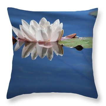 Reflecting In Blue Water Throw Pillow