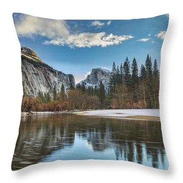 Reflecting On Half Dome Throw Pillow