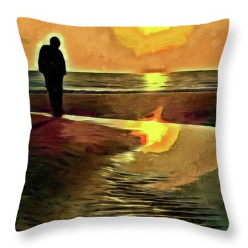 Throw Pillow featuring the mixed media Reflecting On The Day by Trish Tritz