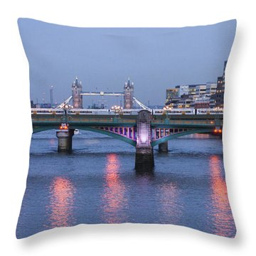 Throw Pillow featuring the photograph Reflecting On The Thames by David Isaacson