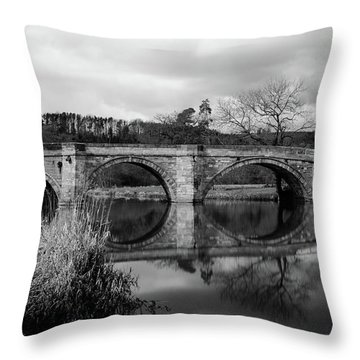 Throw Pillow featuring the photograph Reflecting Oval Stone Bridge In Blanc And White by Dennis Dame