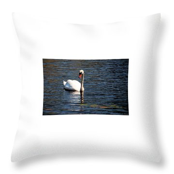 Reflecting Swan Throw Pillow