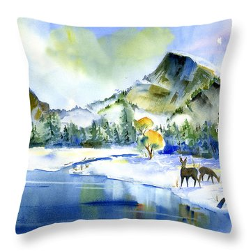 Reflecting Yosemite Throw Pillow
