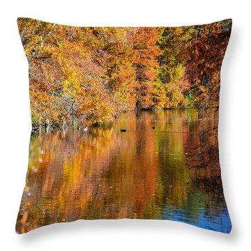Reflected Fall Foliage Throw Pillow