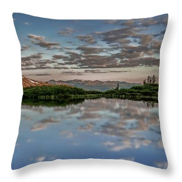 Throw Pillow featuring the photograph Reflection In A Mountain Pond by Don Schwartz