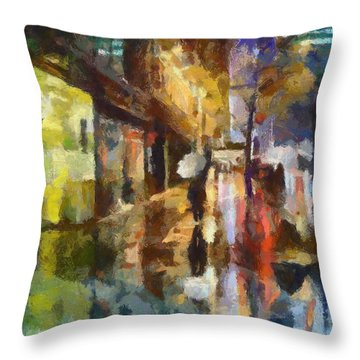 Reflection In The Rain Throw Pillow by Dragica  Micki Fortuna