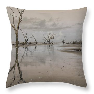Reflection Of A Dead Tree Throw Pillow