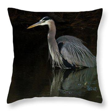 Reflection Of A Heron Throw Pillow