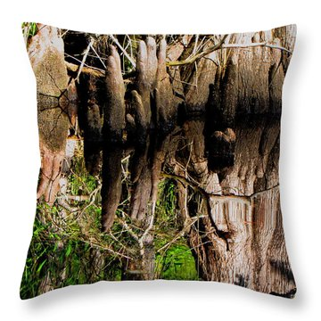 Throw Pillow featuring the photograph Reflection Of Cypress Knees by Barbara Bowen