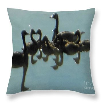 Reflection Of Geese Throw Pillow