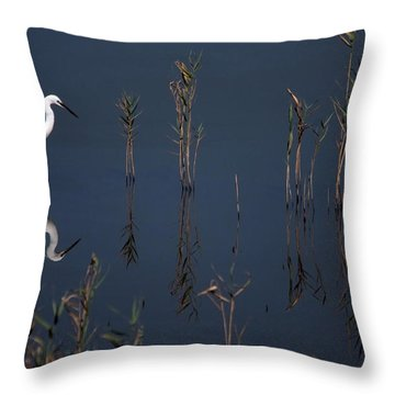 Reflection Of Little Egret In Lake Throw Pillow
