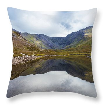 Throw Pillow featuring the photograph Reflection Of Macgillycuddy's Reeks And Carrauntoohil In Lough E by Semmick Photo