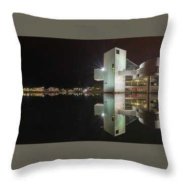 Reflection Of Rock And Roll In Cleveland Throw Pillow