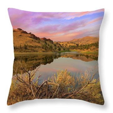 Reflection Of Scenic High Desert Landscape In Central Oregon Throw Pillow