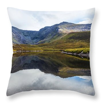 Throw Pillow featuring the photograph Reflection Of The Macgillycuddy's Reeks In Lough Eagher by Semmick Photo