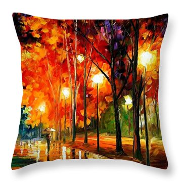 Reflection Of The Night  Throw Pillow by Leonid Afremov