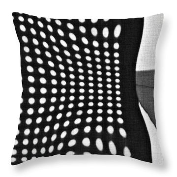 Throw Pillow featuring the photograph Reflection On 42nd Street 2 Grayscale by Sarah Loft