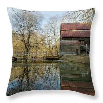Reflection On A Grist Mill Throw Pillow