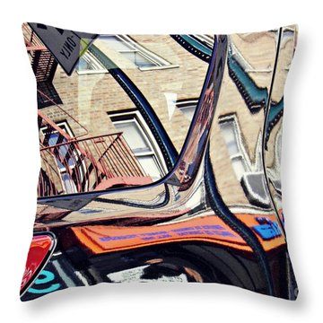 Throw Pillow featuring the photograph Reflection On A Parked Car 18 by Sarah Loft
