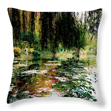 Reflection On Oscar - Claude Monet's Garden Pond Throw Pillow