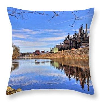 Reflection On The Lehigh - Bethlehem Pa Throw Pillow