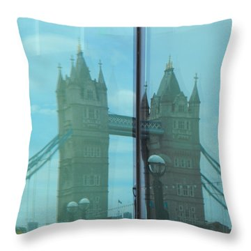 Reflection Tower Bridge Throw Pillow