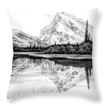 Reflections - Mountain Landscape Print Throw Pillow