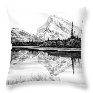 Reflections - Mountain Landscape Print Throw Pillow