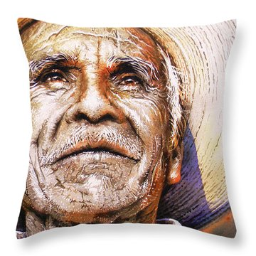 Throw Pillow featuring the painting Reflections About Earth, Bronze And Sun by J- J- Espinoza