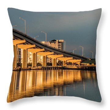 Reflections And Bridge Throw Pillow by Dorothy Cunningham