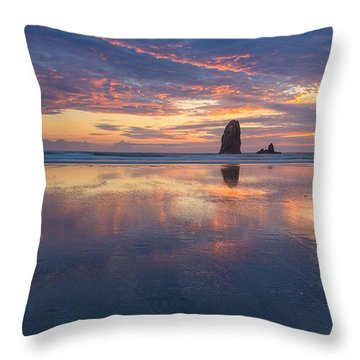 Reflections At Cannon Beach Throw Pillow by Patricia Davidson