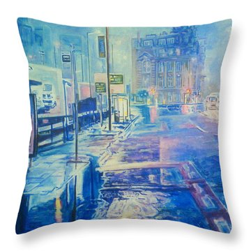 Reflections At Night In Manchester Throw Pillow