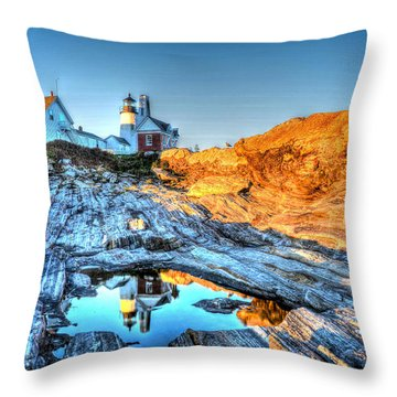 Reflections At Pemaquid Point Throw Pillow