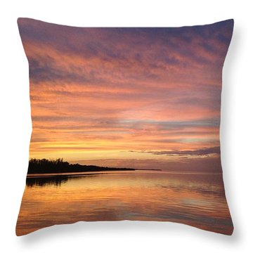 Throw Pillow featuring the photograph Reflections At Sunset In Key Largo by Louise Lindsay