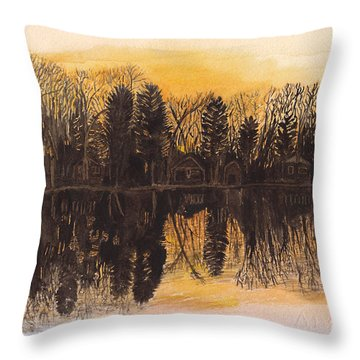 Reflections At Sunset On Bitely Lake Throw Pillow