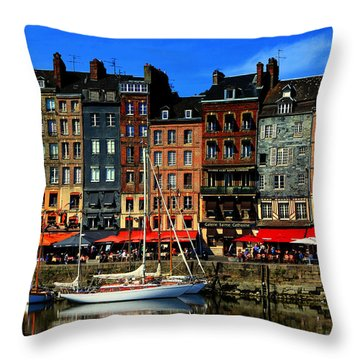 Reflections Honfleur France Throw Pillow