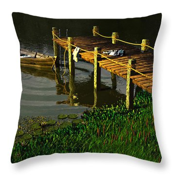 Reflections In A Restless Pond Throw Pillow