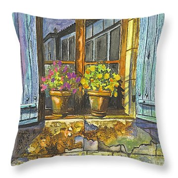 Throw Pillow featuring the painting Reflections In A Window by Carol Wisniewski