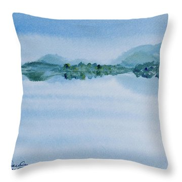Reflection Of Mt Rugby In Bathurst Harbour Throw Pillow