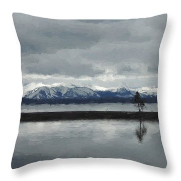 Reflections In Lake Yellowstone Throw Pillow